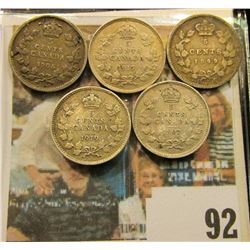 1899, 1906, 1907, 1917, & 1919 Canada Five Cent Silvers.