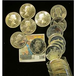 1964 Canada Silver Half Dollars Solid-date Roll of 20 pcs. Gem Prooflikes.