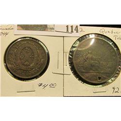 1844 Province of Canada Bank of Montreal Half Penny, VF; & 1852 Quebec One Penny Token, Good but hol