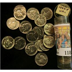 1955 P Solid date Gem BU Roll of Jefferson Nickels stored in a plastic tube.