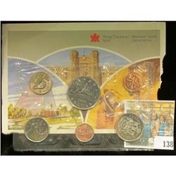 1986 Royal Canadian Mint Set, Six-piece. Original as issued. Envelope tattered on one edge.