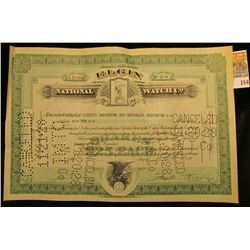 "Ten Shares ""Elgin National Watch Co."" Certificate dated Jul 12, 1927, depicts Grim Reaper vignette h"