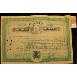 "Ten Shares ""Elgin National Watch Co."" Certificate dated Jul 23, 1927, depicts Grim Reaper vignette h"