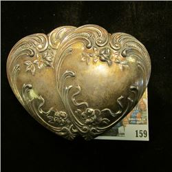 Double-heart design Silvered footed Jewelry Box containing a limited edtion silvered Snow Man Pin; S