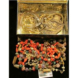 """Linette"" Metal Jewelry Box ""Made in Western Germany"" containing a wide variety of Costume Jewelry."
