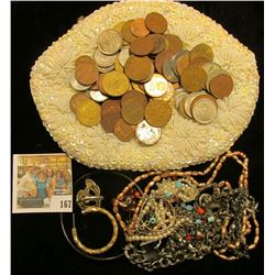 White H& made Beaded & clasp lock Purse containing  a variety of costume Jewelry & Foreign coins.