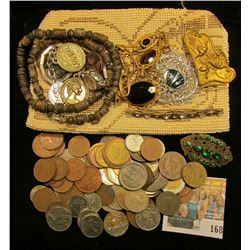 Czechoslovakia Beaded & Zippered Purse containing old Antique Jewelry & various Foreign coins.