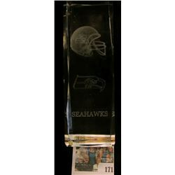 "Large heavy Lead Glass Hologram Style cubicle of (Seattle) ""Seahawks"". In original box."