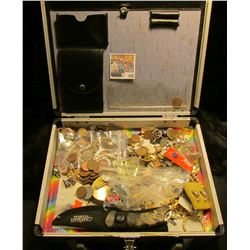 "9"" x 11"" Aluminum 1960 ""Peace"" Era latched case containing old Costume Jewelry, various Foreign Coin"