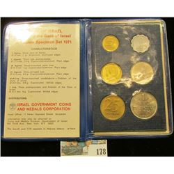 Coins of Israel Issued by the Bank of Israel Jerusalem Specimen Set 1971. Six-pieces.