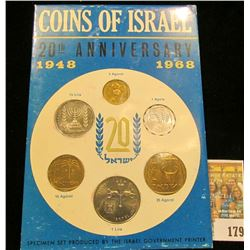 Coins of Israel Issued by the Bank of Israel 20th Anniversary Specimen Set 1948 1968. Six-pieces.