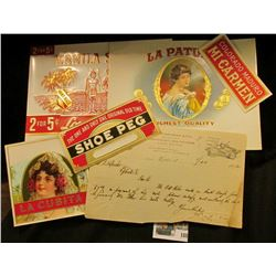 "(5) Attractive near mint condition Cigar Box labels & a Jan 23, 1892 Letter on letterhead ""D.M. Osbo"