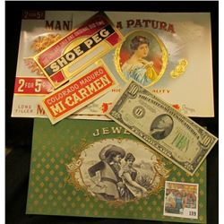 (5) Attractive near mint condition Cigar Box labels & a Series 1934B $10 Federal Reserve Note from S