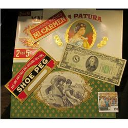 (5) Attractive near mint condition Cigar Box labels & a Series 1934C $20 Federal Reserve Note from S