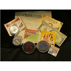 "(4) Different ""Hetzler's Dairy Muscatine, Iowa"" mint, unused container lids; Cigar Box label; (3) be"