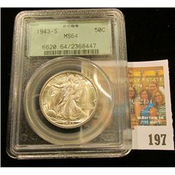 1943 S Walking Liberty Half Dollar, PCGS slabbed MS64. Serial no. 6620 64/2368447. This is a real bl