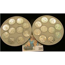Pair of Mini-Coin  Coin Coaster??? depicting numerous coins in high relief.