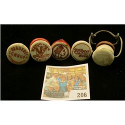 (5) different advertising Ceramic Bottle Stoppers for old antique Beer or Liquor Bottles.