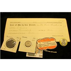"""Compliments of the Woman's Christian Temperance Union"" hang tag; 1977 UAW Pin-back; 1870 Quit Claim"