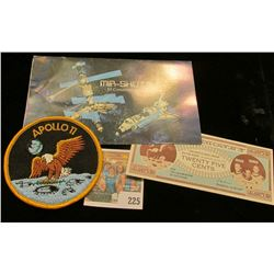 "1995 Marshall Isl& s $5 ""Mir-Shuttle"" Commemorative Coin; 1975 Moon Money 25c Note; & an embroidered"