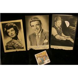 (3) different autographed B & W still Photos of famous Movie Stars including Ruth Hussey, Rocky Rock