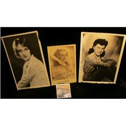 (3) different autographed B & W still Photos of famous Movie Stars including Jessika Koettrik, Elean