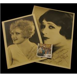 Pair of Autographed B & W photos of Dixie Lee (Mrs. Bing Cosby) & Irene Rich. Doc valued these at $1