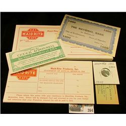 "(2) different groups of ""Maid-Rite"" unissued checks & receipt tickets from Muscatine, Iowa, Doc sold"