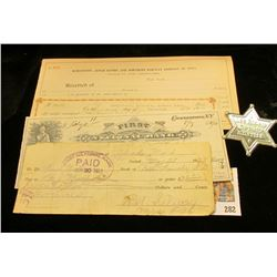 "1927 Check drawn on ""First National Bank Belle Fourche, S.D.""; 1917 Promissory Note payable to ""John"