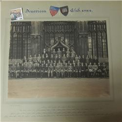 "Oxford University ""American Club, 1914"" Large matted photo with names of members."