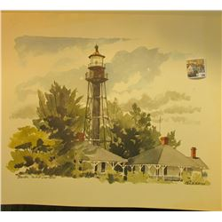 Three large Water Color Prints, one a lighthouse at Sanibell Isl& & the other two of sailing ships.