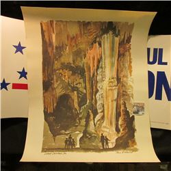 No. 477/1000 Water Color print of Luray Caverns, Va. along with a Paul Simon for President poster.