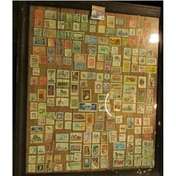 """20"""" X 24"""" Picture Frane with about 200 Used US. Stamps."""