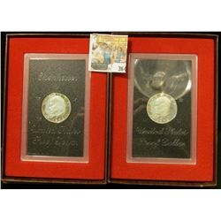 Pair of 1972 S Proof Silver Eisenhower Dollars in original boxes of issue.  Choice condition with gr