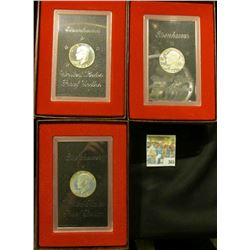 One each 1971 S, 72 S, & 73 S Proof Silver Eisenhower Dollars in original boxes of issue.  At one ti