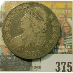 1826 U.S. Capped Bust Half Dollar, minted in the same year that 'The American Temperance Society' wa