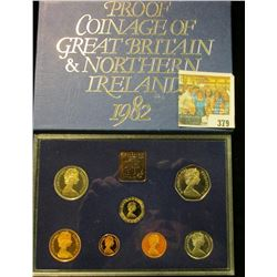 """1982 Proof Coinage of """"Great Britain & Northern Irel& """" in original box of issue. (7 piece plus the"""