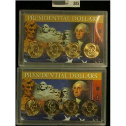 James Monroe P & D, pair of John Quincy Adams P & D Presidential Dollars in a special case of issue.