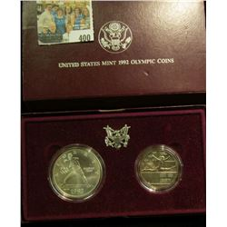 1902 Olympics Two-Coin Gem BU Set in original case of issue. Contains the Silver Dollar & Half-Dolla