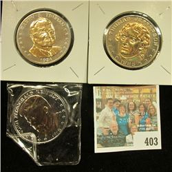 """John Fitzgerald Kennedy"", ""Harry S. Truman"", & ""Thomas Jefferson"" Double Eagle Gold overlay Medals,"