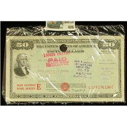 Aug. 17, 1945 United States $50 Savings Bond Series E. Cashed in Lawton, Okla., vignette of Jefferso