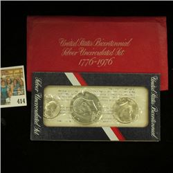 1976 S Gem BU U.S. Bicentennial Three-piece Mint Set. Original as issued.