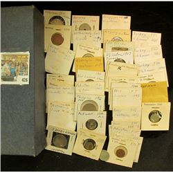 A stock box partially full of mostly Foreign Coins including lots of Silver. Includes 1941 New Zeala
