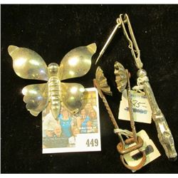 "Silver-colored Sugar Candy Mold & Butterfly; & a Sterling Silver ""Klip-Klip Premo"" Handled Nail Clip"