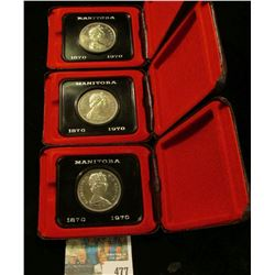 """(3) Proof-like """"Manitoba 1870 1970"""" Royal Canadian Mint Dollars in original cases of issue."""