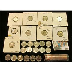 Large group of Roosevelt Dimes in holders including a group of (5) 1955 P BU Roosevelt Dimes; (14) m