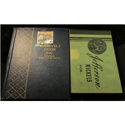 """Meghrig """"Jefferson Nickels 1938"""" empty and used; Whitman Coin Album with Coins """"Roosevelt Dimes 1946"""