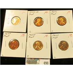 1962 P, 63 P 64 P, 69 S, 70 S LD, & 71 S U.S. Proof Lincoln Cents.