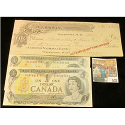 """(2) 1973 Canada One Dollar Notes.& a 1911 Check """"Citizens National Bank Watertown, S.D.""""."""