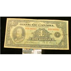 Issue of 1935 Bank of Canada One Dollar Note